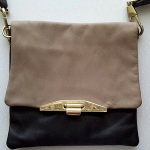 Beige and Black Leather Ann Taylor Shoulder Small